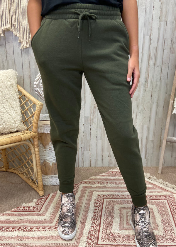 Can't Get Enough Dark Olive Joggers-Shop-Womens-Boutique-Clothing
