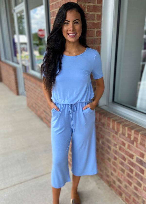 Quick To Go Spring Blue Jumpsuit-Shop-Womens-Boutique-Clothing