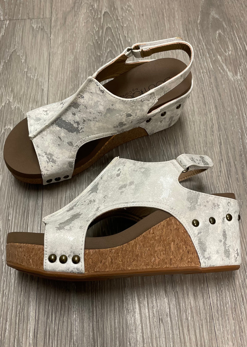 Carley White Metallic Sandals-Shop-Womens-Boutique-Clothing