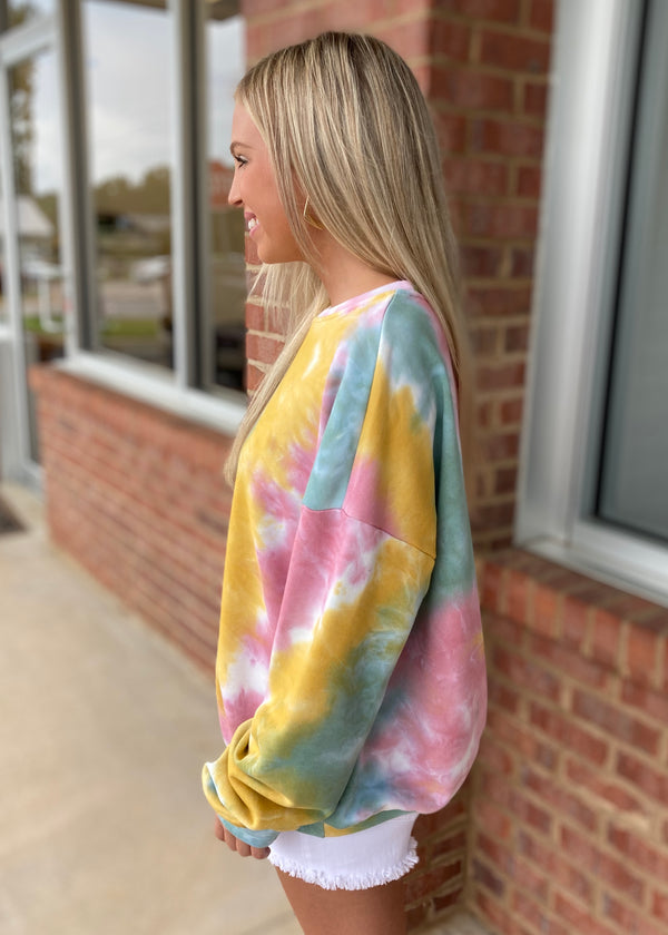 The Magic In Me Sage Tie Dye Sweatshirt-Shop-Womens-Boutique-Clothing