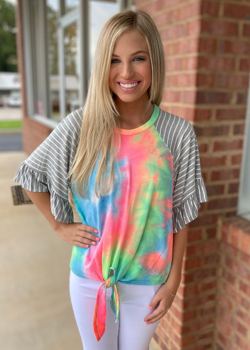 Nothing Like It Tie Dye Striped Top-Shop-Womens-Boutique-Clothing