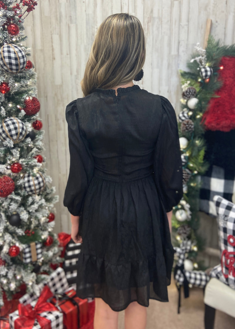 Silent Night Black Smocked Dress-Shop-Womens-Boutique-Clothing