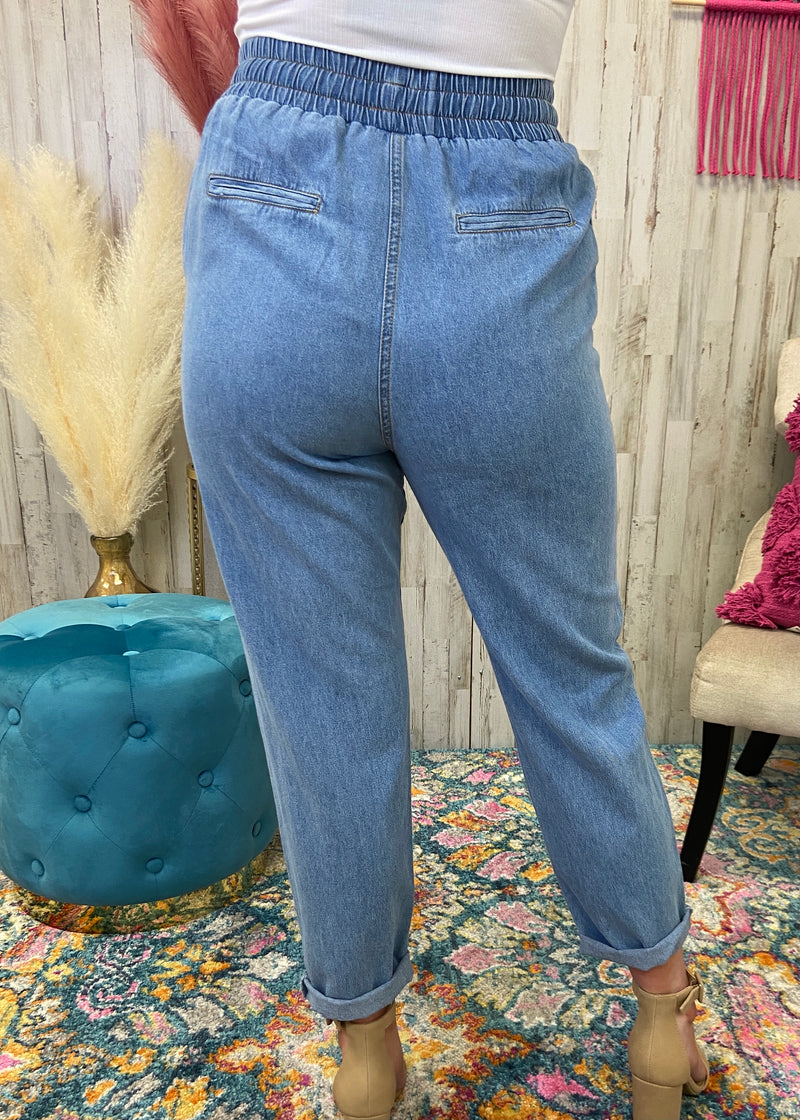 Already Here Blue Distressed Joggers-Shop-Womens-Boutique-Clothing