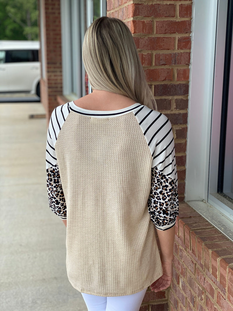 Can't Stop Me Oatmeal Striped Leopard Top-Shop-Womens-Boutique-Clothing