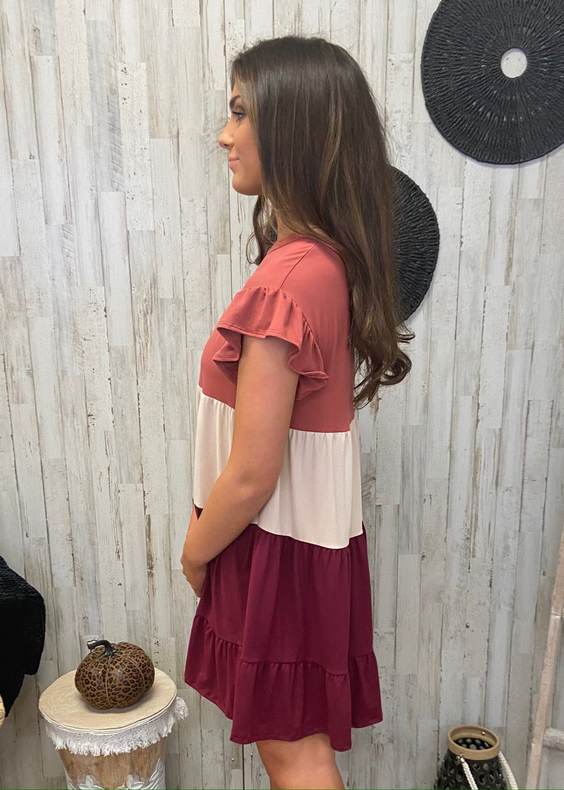 Talk To You Later Burgundy Ruffled Dress-Shop-Womens-Boutique-Clothing