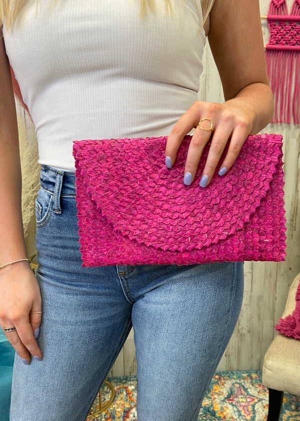 Take It With You Pink Snap Clutch-Regular-Shop-Womens-Boutique-Clothing