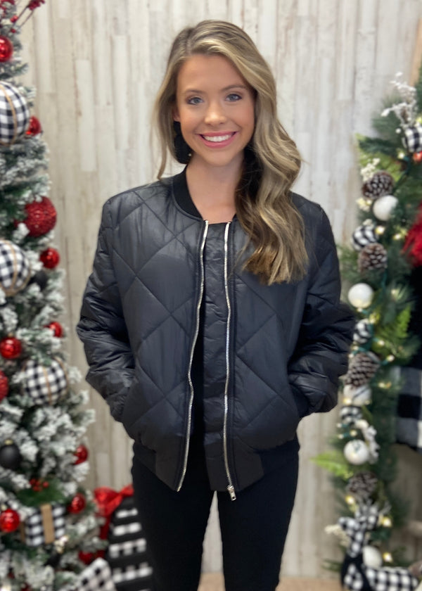 Weather Or Not Black Quilted Jacket-Shop-Womens-Boutique-Clothing