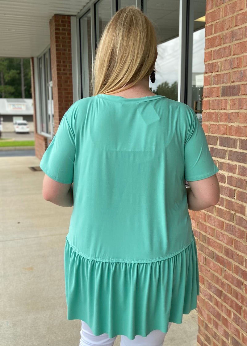 On The Other Side Plus Size Aqua Top-Shop-Womens-Boutique-Clothing