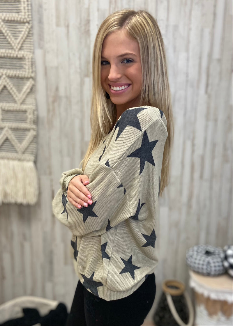 Upstate Journey Oatmeal Star Top-Shop-Womens-Boutique-Clothing