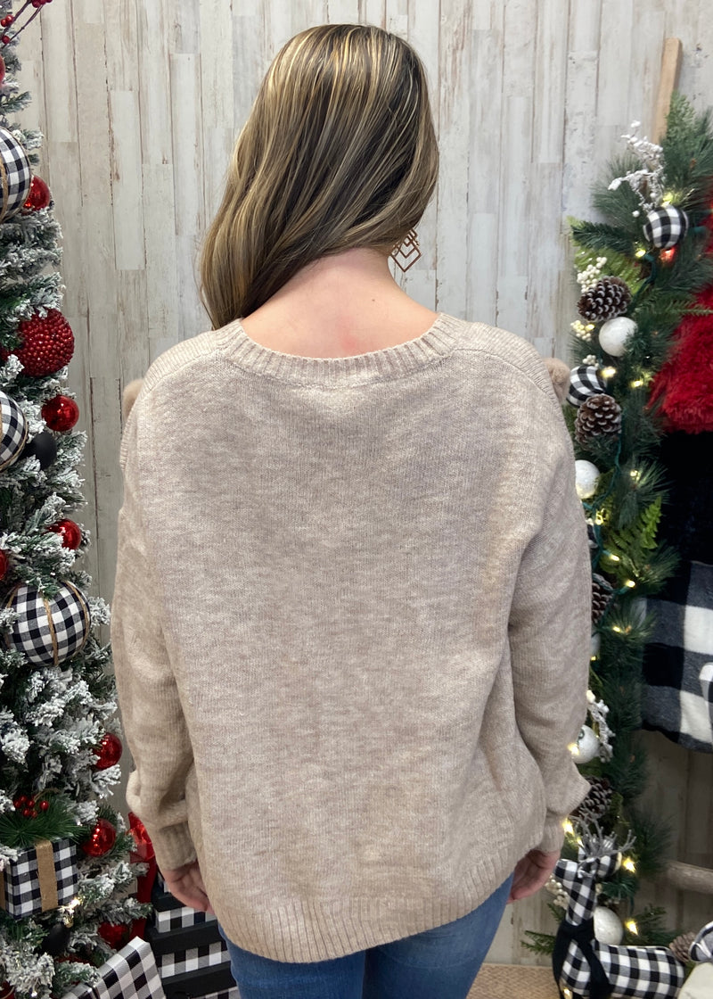 All Patched Up Taupe Pom Pom Sweater-Shop-Womens-Boutique-Clothing