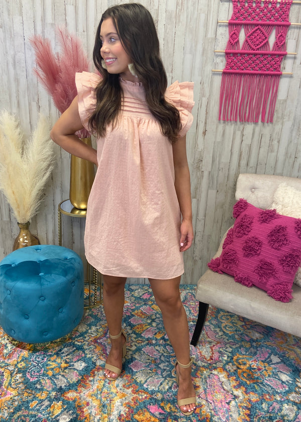 Enchanting Nature Blush Pintuck Dress-Shop-Womens-Boutique-Clothing