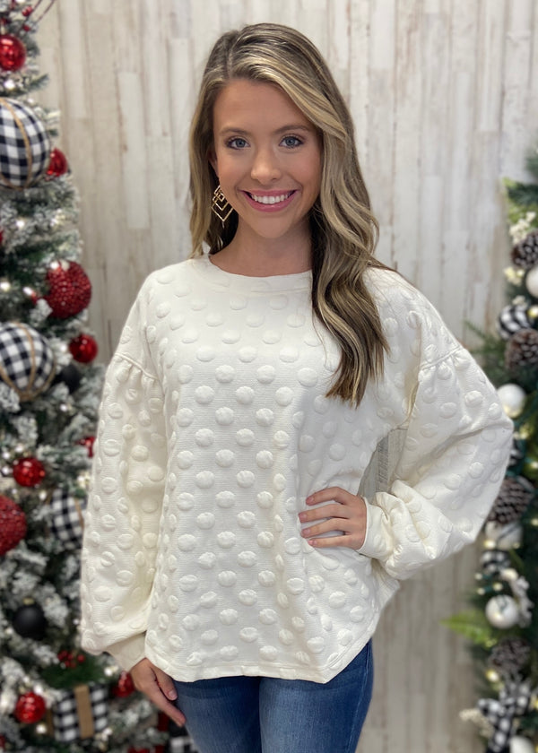 Choose Cozy Cream Dot Sweater-Shop-Womens-Boutique-Clothing