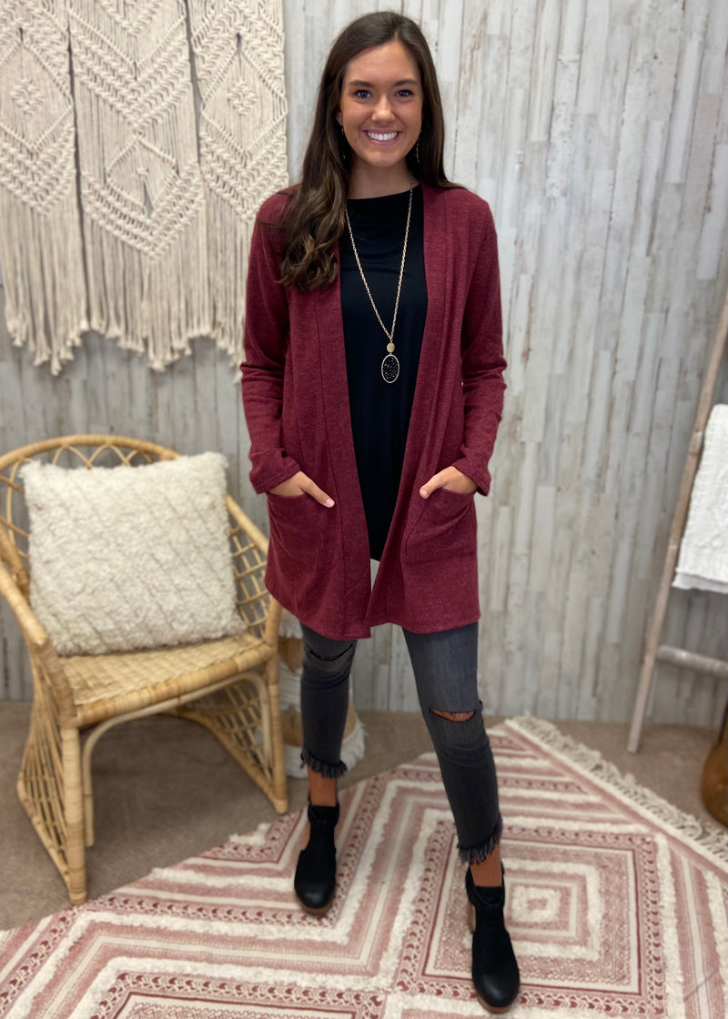 Cozy Lodge Dark Burgundy Cardigan-Shop-Womens-Boutique-Clothing