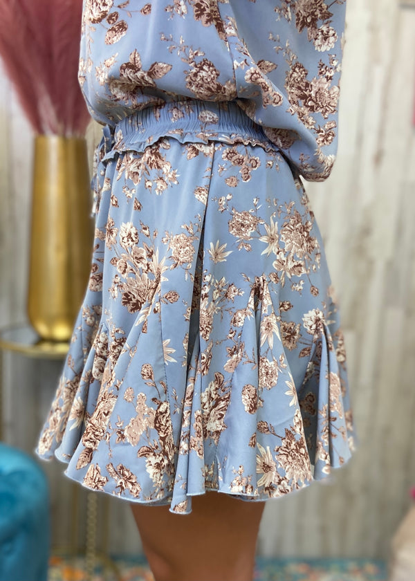 Moments For Me Blue Floral Skirt-Shop-Womens-Boutique-Clothing