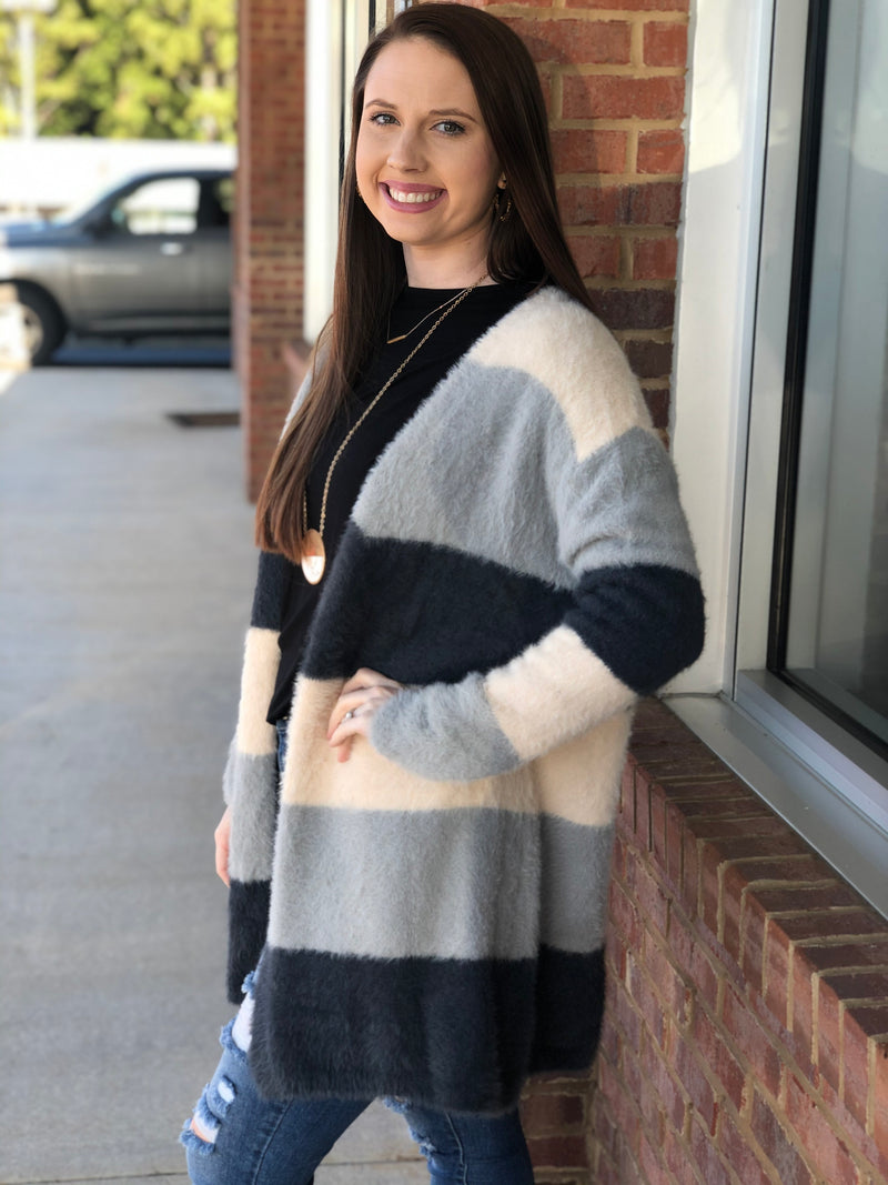 Every Reason Gray Color Block Fuzzy Cardigan-Shop-Womens-Boutique-Clothing
