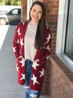 Red Star Printed Cardigan-Shop-Womens-Boutique-Clothing