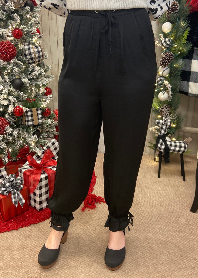 Switch It Up Black Ruffle Pants-Shop-Womens-Boutique-Clothing