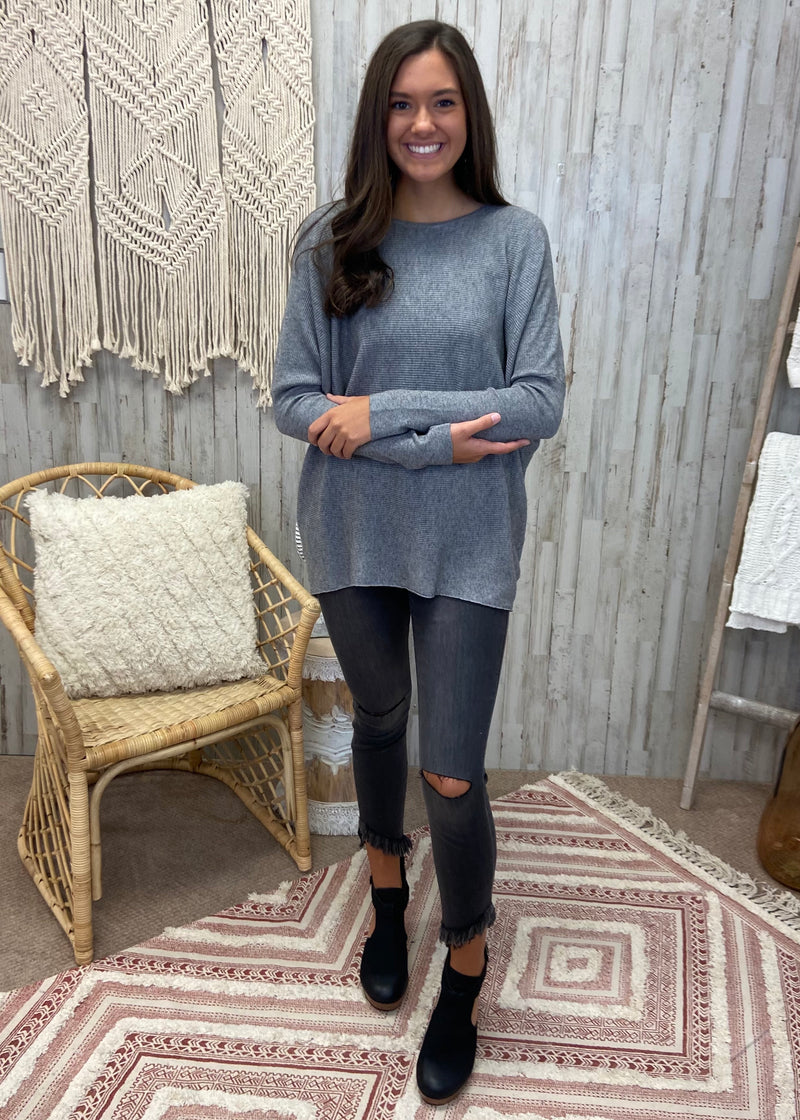 Fashionable Truth Grey Ribbed Sweater-Shop-Womens-Boutique-Clothing