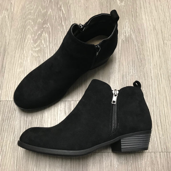River Black Zipper Booties-Shop-Womens-Boutique-Clothing