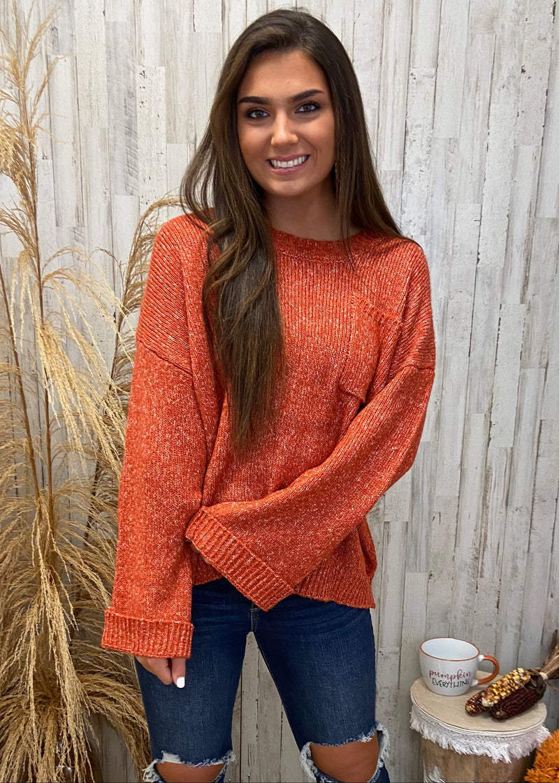 Pumpkin Spice Bliss Red Pocket Sweater-Shop-Womens-Boutique-Clothing