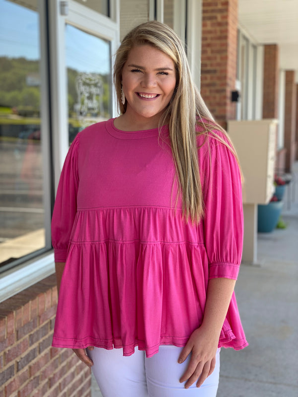 Anywhere You Want Plus Size Fuchsia Tiered Top-Shop-Womens-Boutique-Clothing