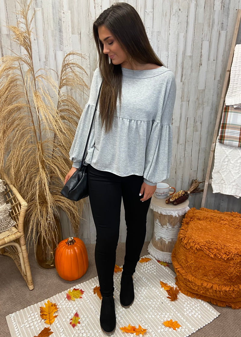 Fall Destination Grey Babydoll Top-Shop-Womens-Boutique-Clothing