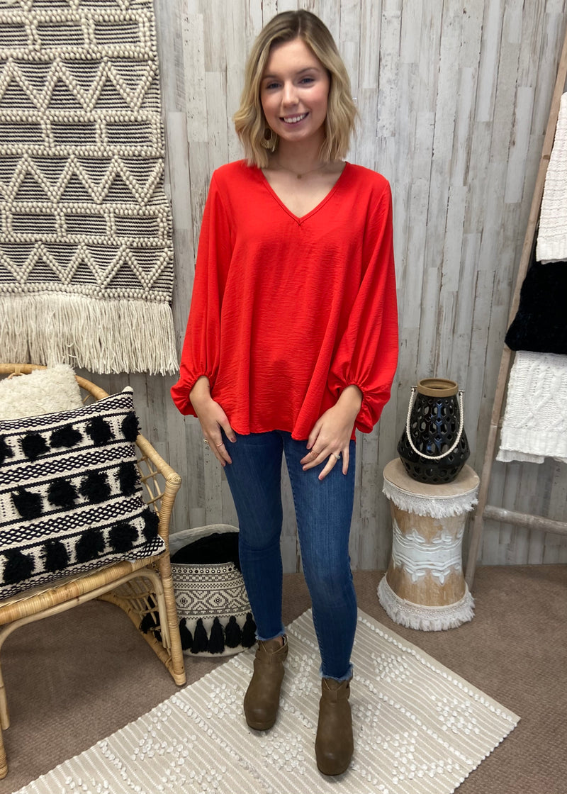 Speak Now Red V-Neck Top-Shop-Womens-Boutique-Clothing