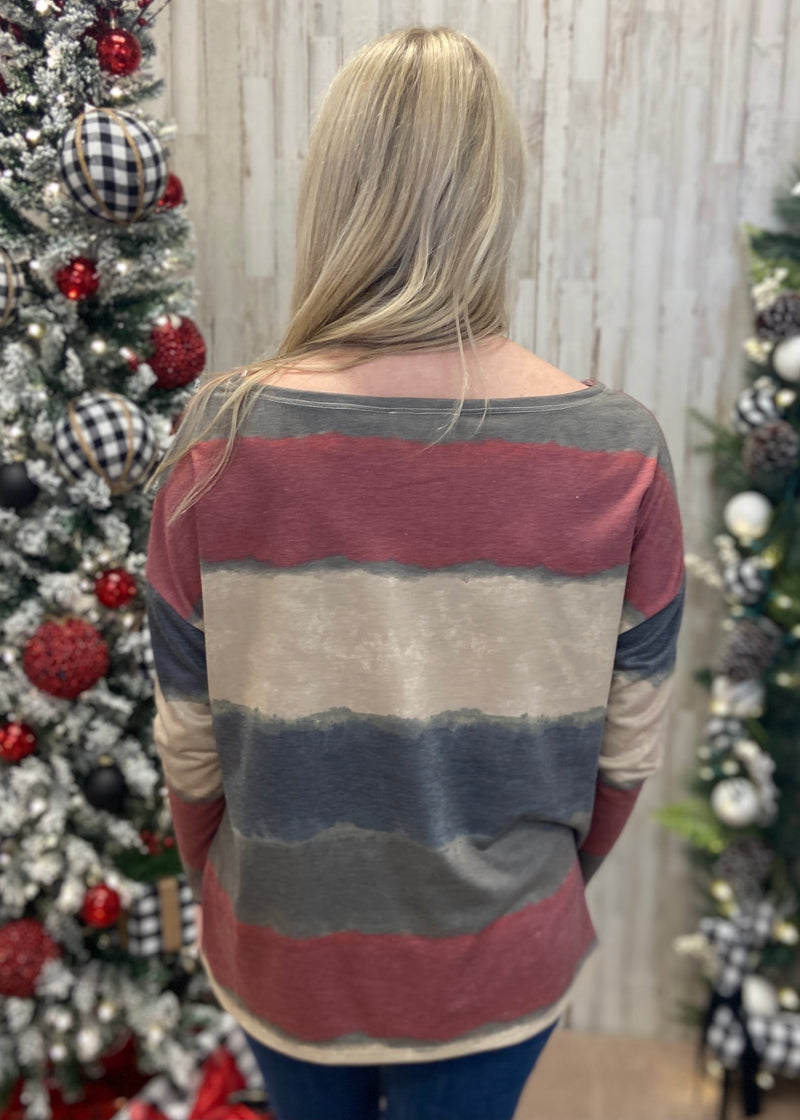 Countryside Gardens Olive Tie Dye Top-Shop-Womens-Boutique-Clothing