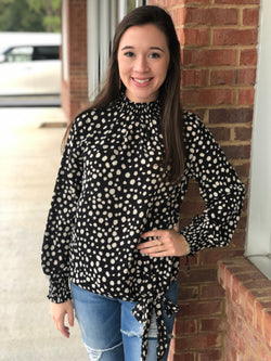 Still Can See Black Spotted Smocked Neck Top-Shop-Womens-Boutique-Clothing
