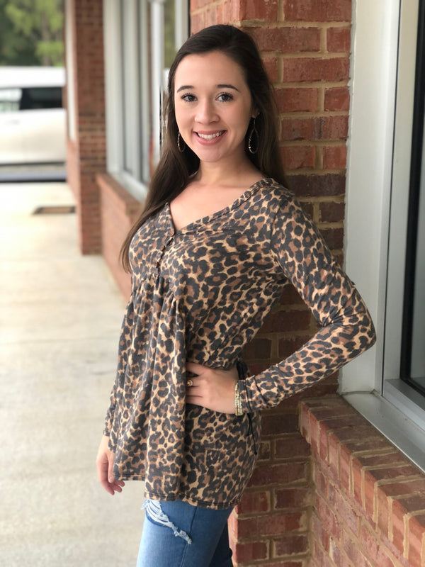 Got You On My Mind Animal Print Babydoll Top