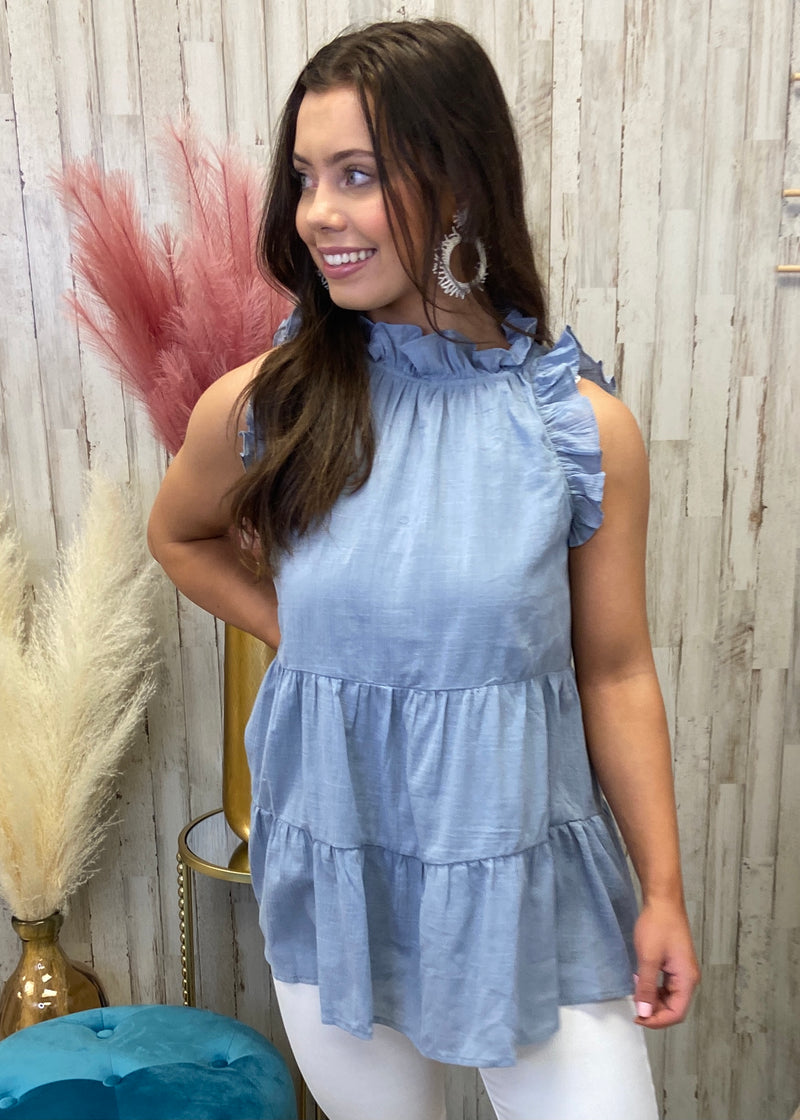 Malibu Drives Misty Blue Tiered Top-Shop-Womens-Boutique-Clothing