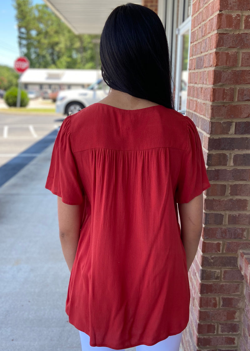New Beginnings Red Smocked Top-Shop-Womens-Boutique-Clothing