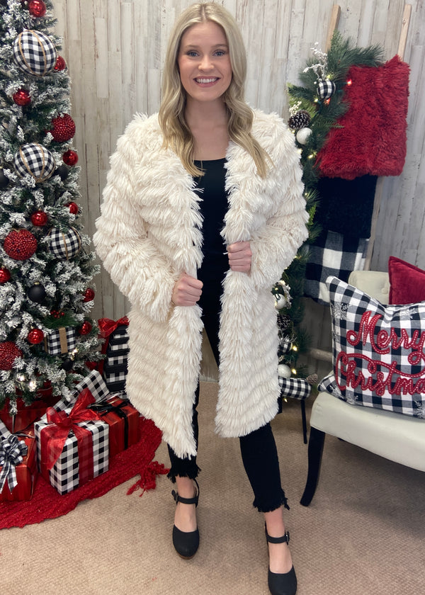 Bring The Drama Ivory Shaggy Coat-Shop-Womens-Boutique-Clothing