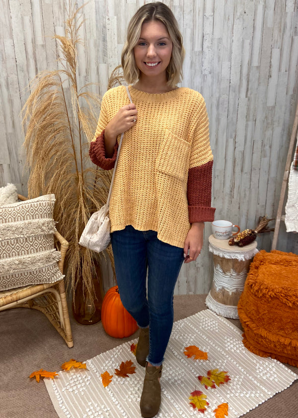 October Morning Mustard Colorblock Sweater-Shop-Womens-Boutique-Clothing