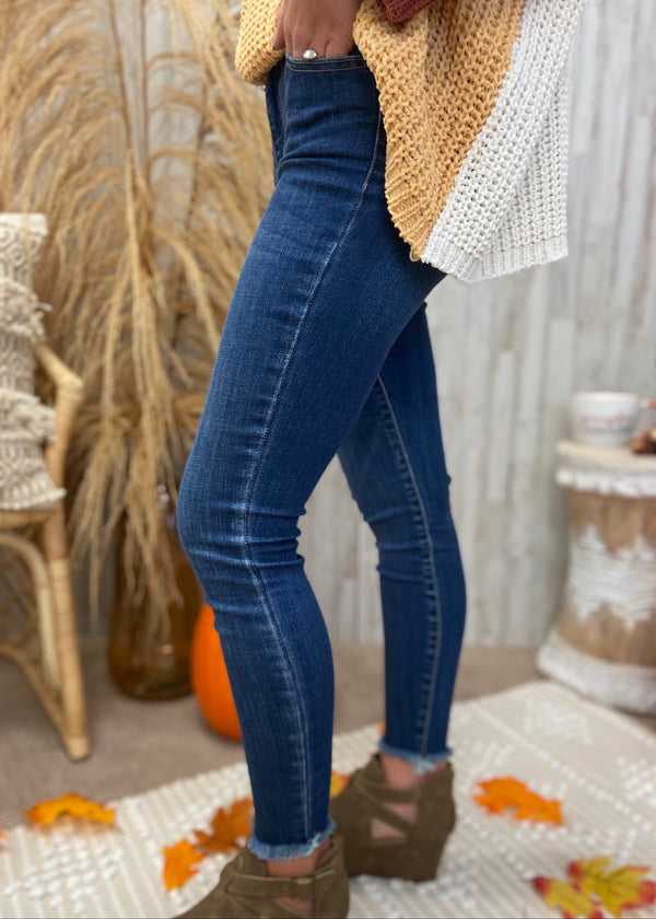 Uptown Brunch Dark Denim Skinny Jeans-Shop-Womens-Boutique-Clothing