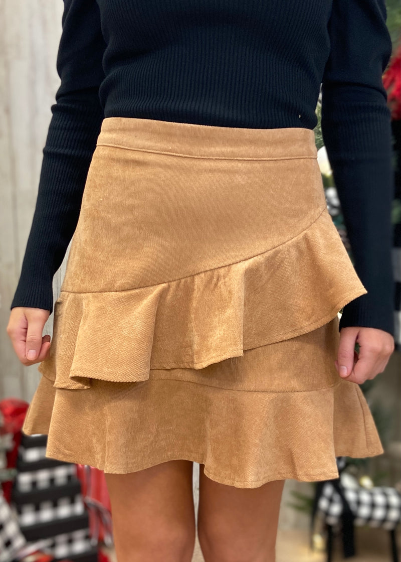Walking By Camel Corduroy Skirt-Shop-Womens-Boutique-Clothing