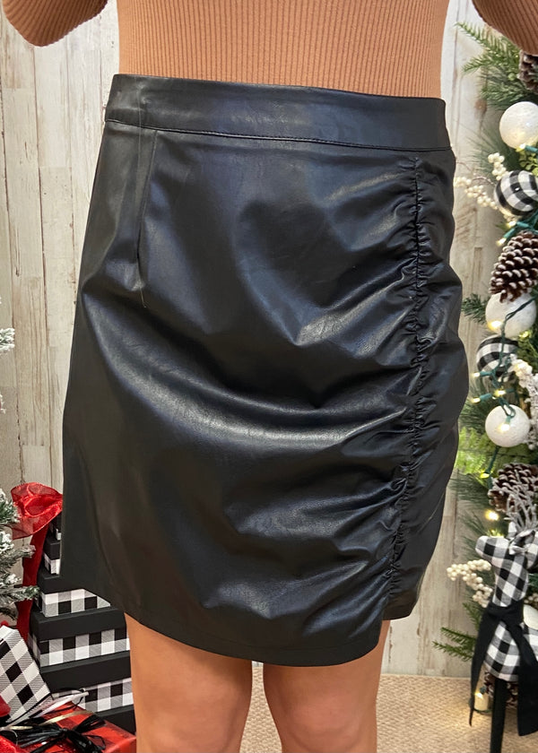 Midnight Walk Black Ruched Skirt-Shop-Womens-Boutique-Clothing