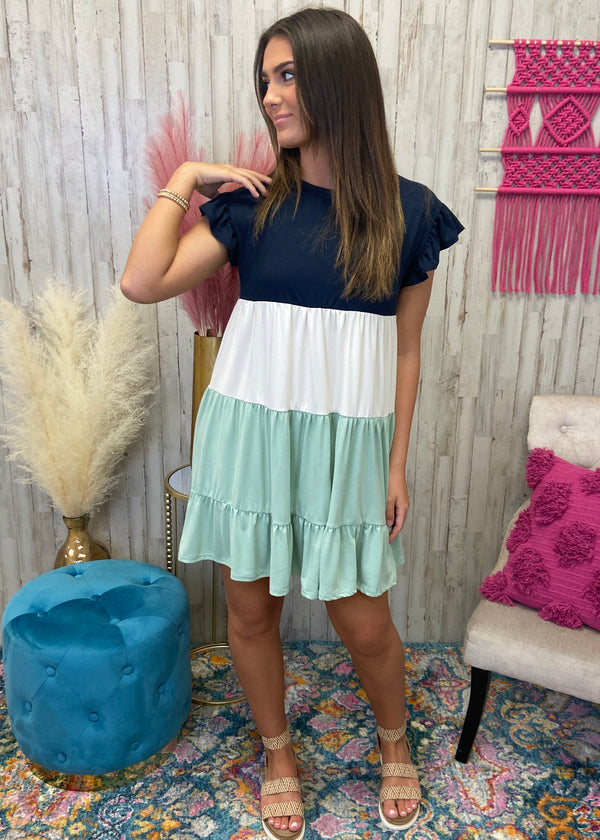 Happy Memory Navy Colorblock Dress-Shop-Womens-Boutique-Clothing