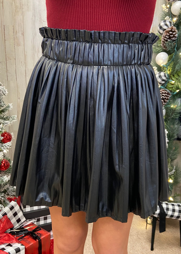 Night In Hollywood Black Pleated Skirt-Shop-Womens-Boutique-Clothing
