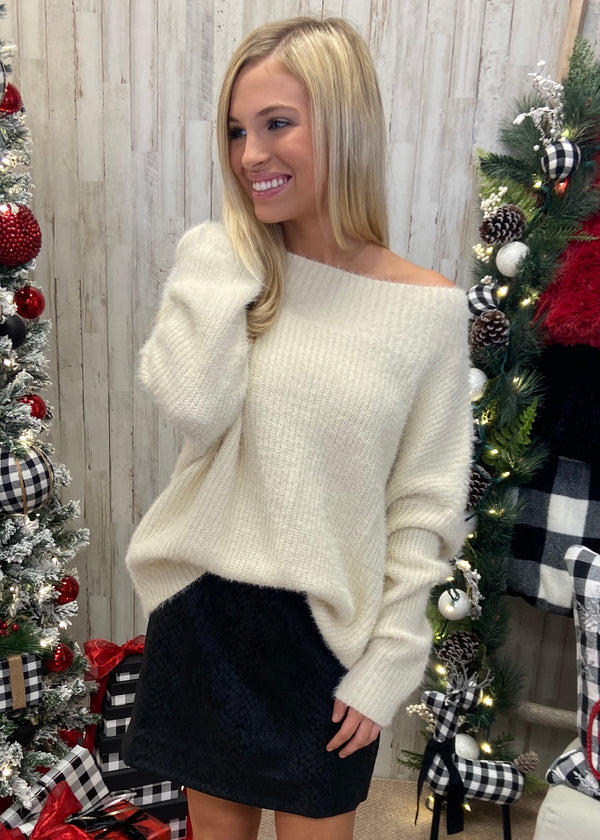 Warm Touch Cream Fuzzy Sweater-Shop-Womens-Boutique-Clothing
