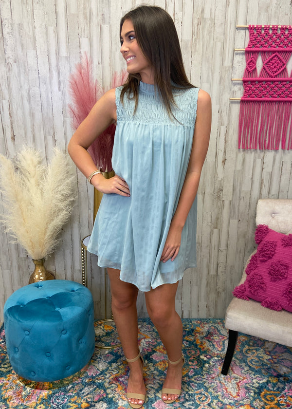 Breathless Dreaming Seafoam Smocked Dress-Shop-Womens-Boutique-Clothing