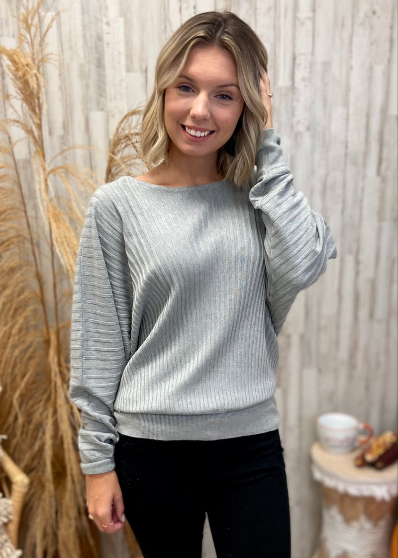 Snow Retreat Grey Boatneck Sweater-Shop-Womens-Boutique-Clothing