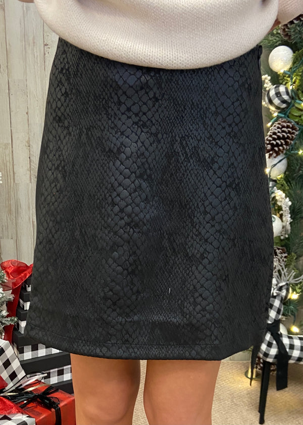 Missing My Wild Side Black Snakeprint Skirt-Shop-Womens-Boutique-Clothing
