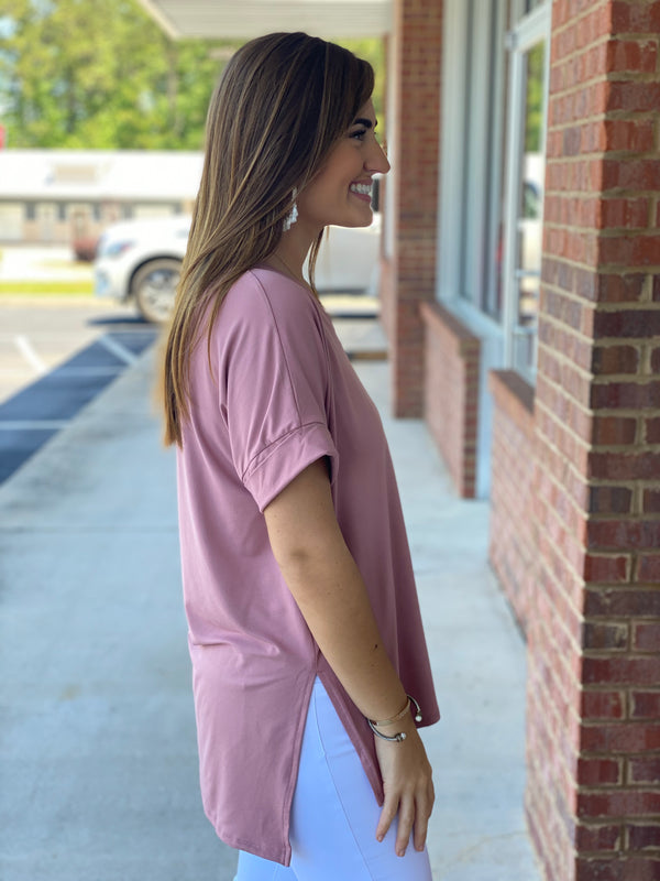 Back To The Start Light Rose Brushed Rolled Sleeve Vneck Top-Shop-Womens-Boutique-Clothing