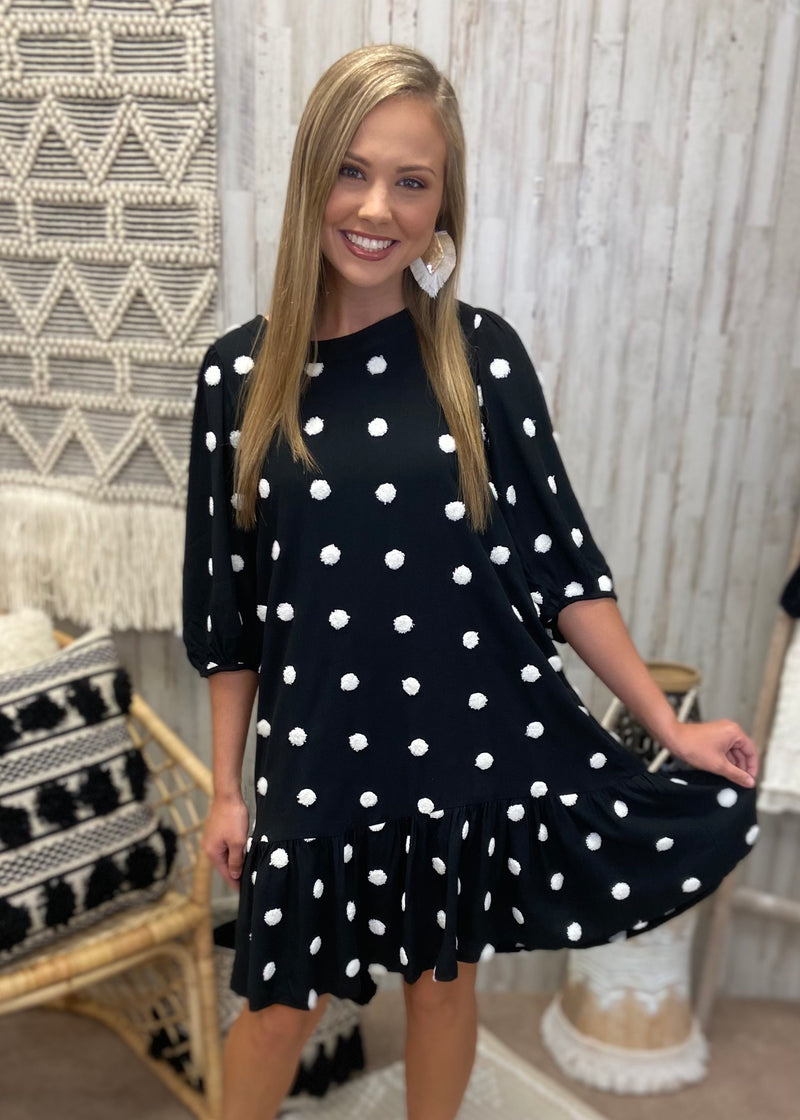 Dreaming At Dusk Black Polka Dot Dress-Shop-Womens-Boutique-Clothing
