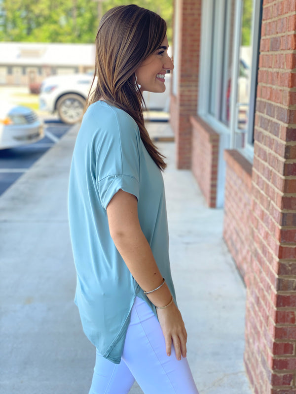 Back To The Start Light Green Brushed Rolled Sleeve Vneck Top-Shop-Womens-Boutique-Clothing