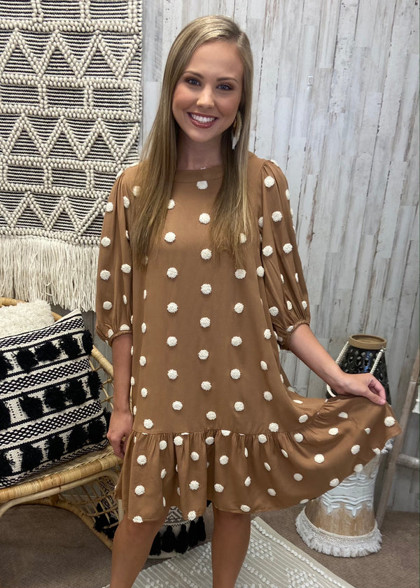 Dreaming At Dusk Mocha Polka Dot Dress-Shop-Womens-Boutique-Clothing