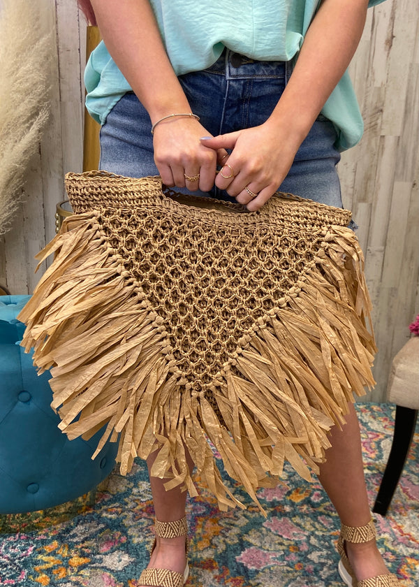 Completely Attached Tan Fringe Handbag-One Size-Shop-Womens-Boutique-Clothing