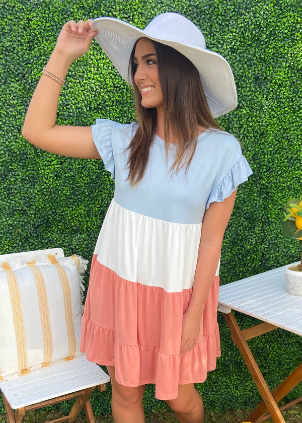 Happy Memory Blue Colorblock Dress-Shop-Womens-Boutique-Clothing