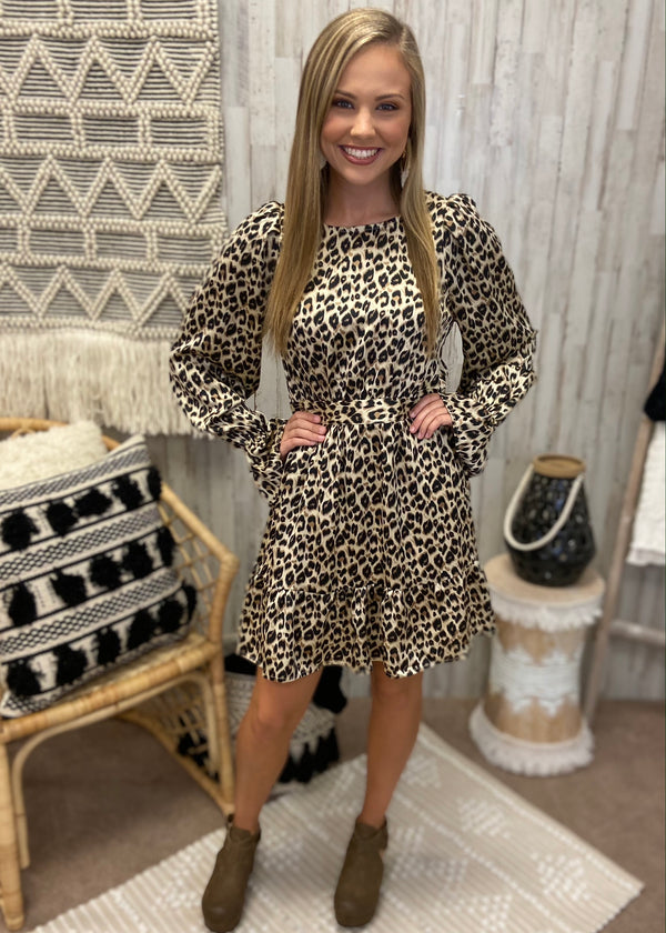 Feisty Style Mocha Leopard Dress-Shop-Womens-Boutique-Clothing